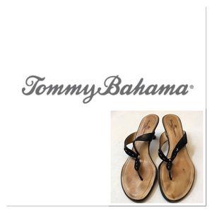 Tommy Bahama thong heel sandals black Sz 7